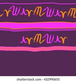 Seamless horizontal  pattern of zodiac signs, doodles,  object,aries,scorpio,stripes, spot, copy space. Hand drawn.