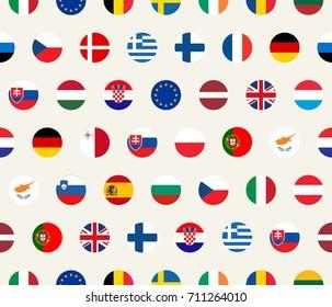 Seamless illustration set of European Union countries flags on white background. EU members flags.