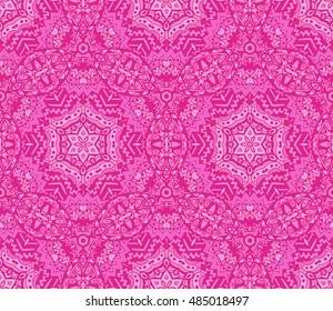 seamless indian autumn ethnic tribal pattern. Geometric autumn mosaic tiles background
