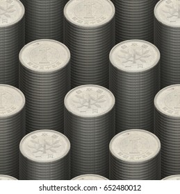 Seamless japanese 1 yen coin pattern background