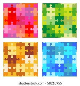 Seamless jigsaw puzzle patterns - red, green, tan and brown, blue ( for vector EPS see image 58218958 )