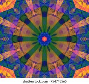 Seamless kaleidoscope gothic texture. Illustration for design. Bright flower.