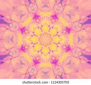 Seamless kaleidoscope vintage texture. Illustration for design. Bright flower.