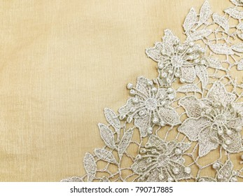 Seamless Lace Floral on Brown Background
