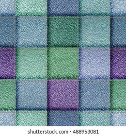 seamless leather patchwork background 3D illustration