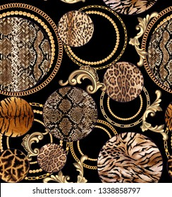 seamless Leopard pattern and golden chain texture repeating Texture Leopard Fashionable print. Fashion and stylish - Vektör