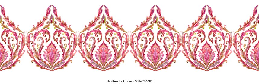 seamless lovely border with floral vignette. watercolor painting