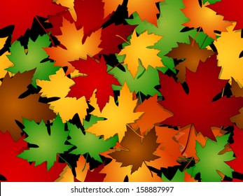 Seamless maple leaves pattern in fall or autumn season colors.