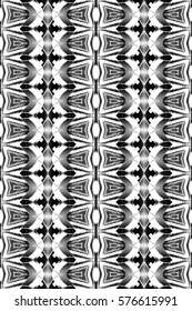 Seamless melting black and white rectangle symmetrical artistic vertical pattern for textile, design and backgrounds. Aspect ratio 3:2