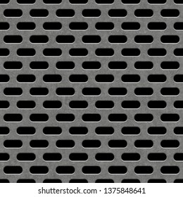 Seamless metal grille.Ellipse grille isolated on black background.Diamond plate oval seamless