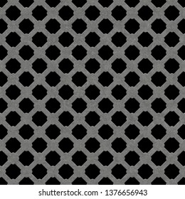 Seamless metal grille.Quadrilateral grille isolated on black background.Quadrilateral plate seamless