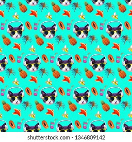 Seamless minimal fashion pattern. Beach vacation cat background. Use for t-shirt, greeting cards, wrapping paper, posters, fabric print. Collage art