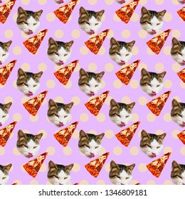 Seamless minimal  pattern. Cat pizza lover. Use for t-shirt, greeting cards, wrapping paper, posters, fabric print. Collage fun art