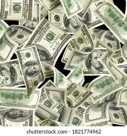 Seamless money background. Dollar bill. Washington American cash. Usd money isolated on black background.