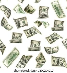 Seamless money pattern. Dollar bill. Washington American cash. Usd money isolated on white background. - Shutterstock ID 1800224212