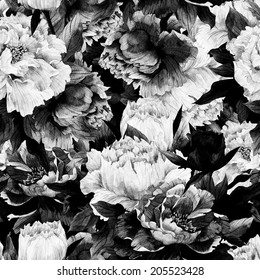 Seamless monochrome floral pattern with roses on dark background, watercolor.