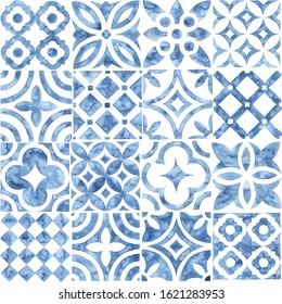 Seamless moroccan pattern. Square vintage tile. Blue and white watercolor ornament painted with paint on paper. Handmade. Print for textiles. Seth grunge texture. - Shutterstock ID 1621283953