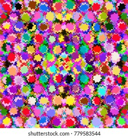 Seamless mosaic rainbow background with colorful grunge circles and squares