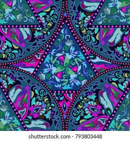 Seamless multicolor pattern with oriental mandala. Hippie mandala pattern. Kaleidoscope elements. Fabric, wallpaper or wrap print