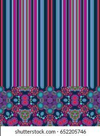 Seamless multicolor pattern with oriental mandalas. Hippie mandala pattern. Kaleidoscope elements. Boho chic style. Fabric, wallpaper or wrap print