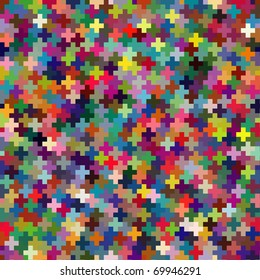 Seamless multicolor puzzle block background. Vector version available.