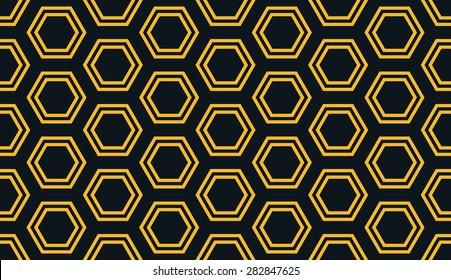 Seamless neon orange distant hexagons pattern