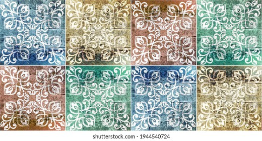Seamless old aged weathered grunge colorful vintage worn shabby patchwork motif tiles stone concrete cement wall texture background banner panorama banner with ornate floral flower leaf print
