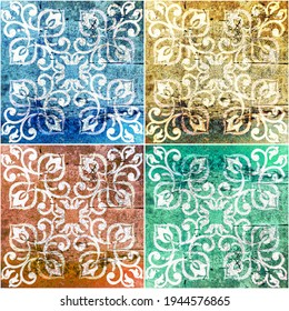 Seamless old aged weathered grunge colorful vintage worn shabby patchwork motif tiles stone concrete cement wall texture background square with ornate floral flower leaf print