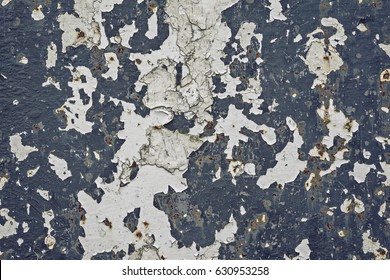 Seamless old and cracked rustic white and dark blue paint texture background with spots of rust.