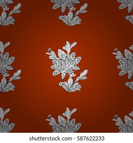 Seamless oriental ornament in the style of baroque. Traditional classic white pattern on brown background with white elements.