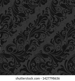 Seamless ornate baroque diagonal black color pattern
