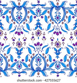 Seamless paisley pattern, bohemian style, cachemire design. For textile, wrapping