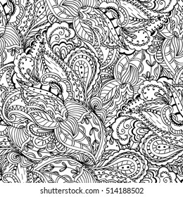 Fantasy Paisley Pattern Seamless Background Coloring Stock Vector ...