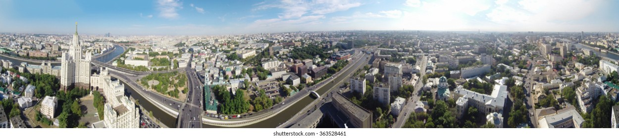 Seamless panorama of Moscow, Russia with Kotelnicheskaya Embankment Building and Tagansky district