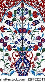 Seamless patchwork tile flower ornamental vintage ottoman, ceramic tiles floral patterns from Turkey