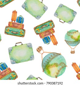 Seamless pattern about travel from suitcases and a balloon drawn in watercolor on a white background
