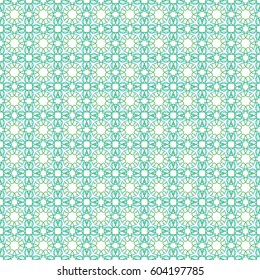 Seamless pattern. abstract background with blue and mint green geometric floral hand drawn