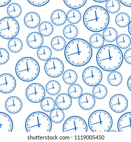 Seamless pattern of the abstract clock faces
