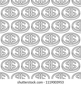 Seamless pattern of the abstract contour dollar coins