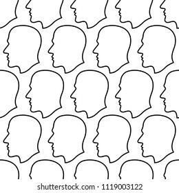 Seamless pattern of the abstract contour human profile heads