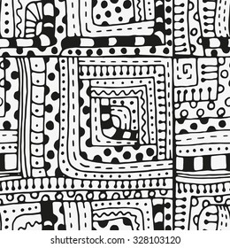 Seamless pattern with abstract figures. Indian, Asian, Ethnic, Floral  doodle. Black and white background. Stock image. Tribal