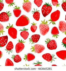 Seamless pattern of abstract watercolor hand drawn beautiful strawberries on white background.