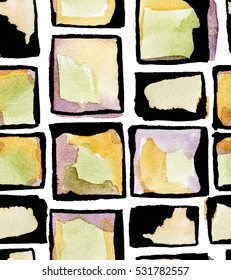 Seamless pattern with abstract watercolor stones elements in soft rose, green, orange colors on white background.