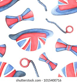A seamless pattern with accessories: a hat, a moncol, a bow tie. Symbols of England and the British flag. Watercolor illustration for printing on clothes and postcards