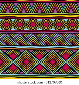 seamless pattern with african geometric ornament