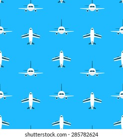 Seamless Pattern with Airplanes - raster