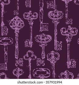 Seamless pattern with Antique Vintage Keys in grunge style. Raster version