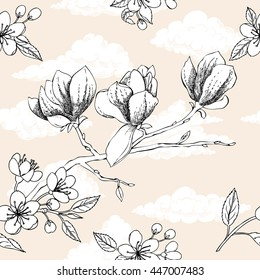 Seamless pattern with apple tree and magnolia. Hand drawn patten with spring garden flowers.Illustration