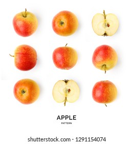Seamless pattern with apples. Abstract background. Apples on the white background.
