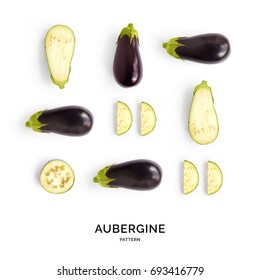 Seamless pattern with aubergine. Vegetables abstract background. Aubergine on the white background.
